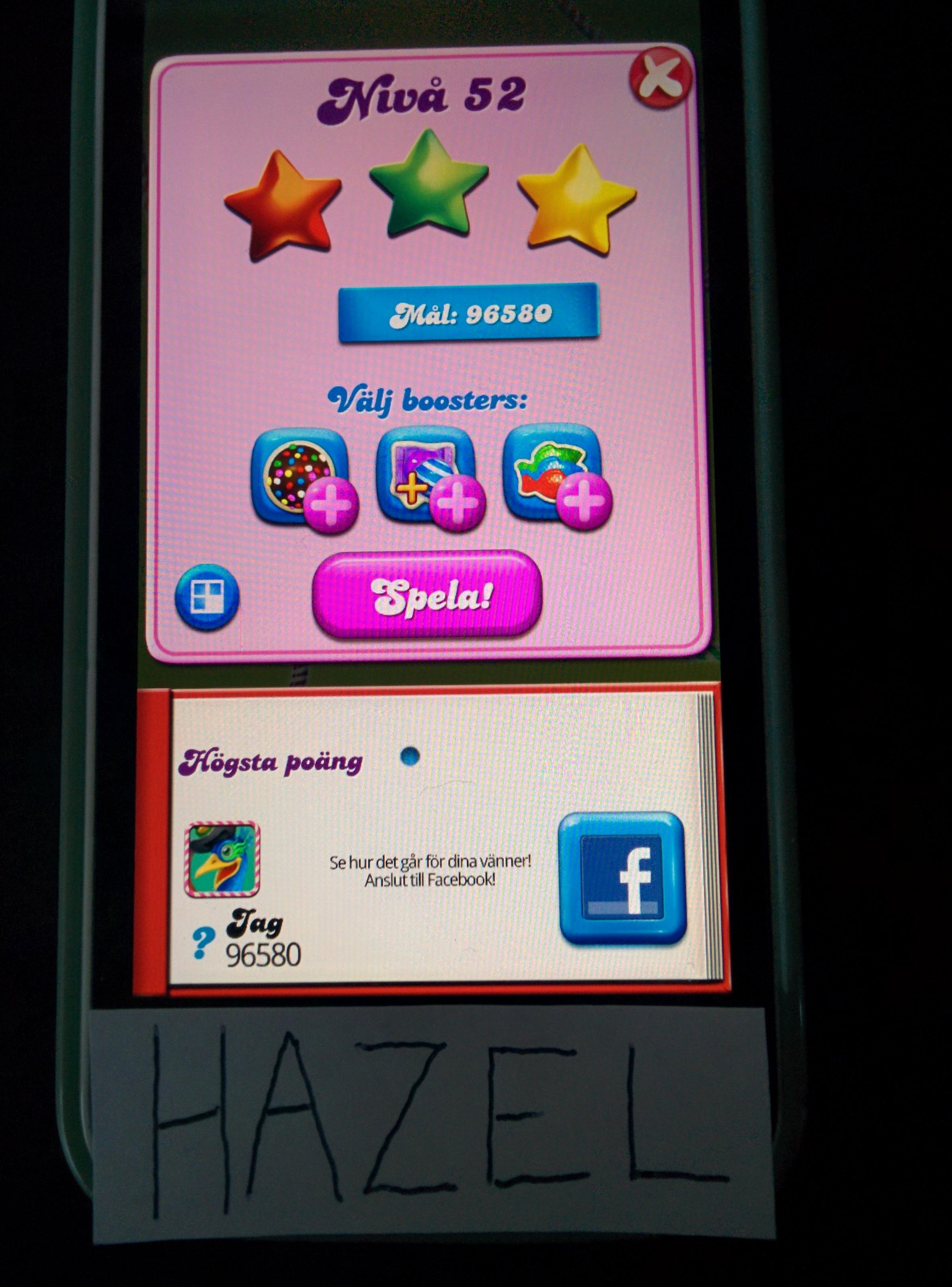 Hazel: Candy Crush Saga: Level 052 (iOS) 96,580 points on 2014-08-22 13:11:21