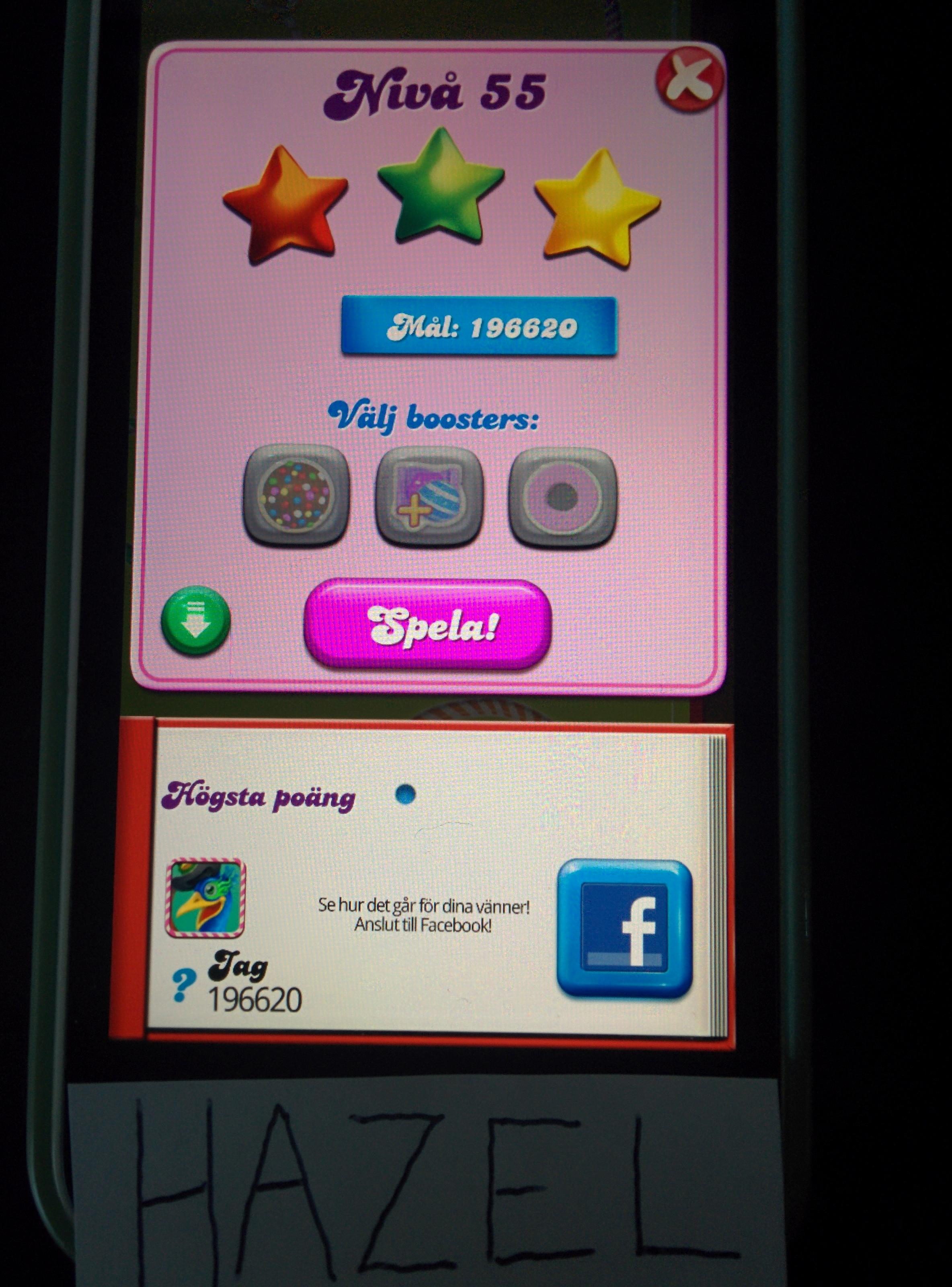 Hazel: Candy Crush Saga: Level 055 (iOS) 196,620 points on 2014-08-22 13:12:30