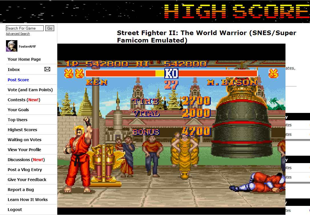 FosterAMF: Street Fighter II: The World Warrior (SNES/Super Famicom Emulated) 542,800 points on 2014-08-24 03:21:23