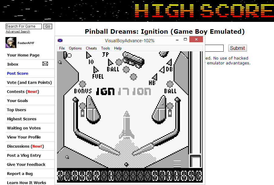 FosterAMF: Pinball Dreams: Ignition (Game Boy Emulated) 5,711,653 points on 2014-08-24 17:41:45