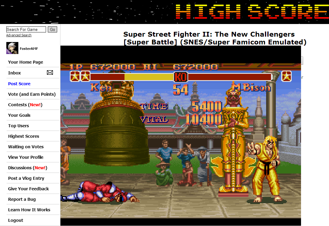 FosterAMF: Super Street Fighter II: The New Challengers [Super Battle] (SNES/Super Famicom Emulated) 672,000 points on 2014-08-25 01:42:17