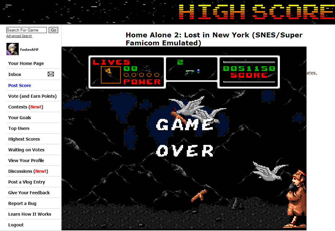 FosterAMF: Home Alone 2: Lost in New York (SNES/Super Famicom Emulated) 51,150 points on 2014-08-27 18:16:26