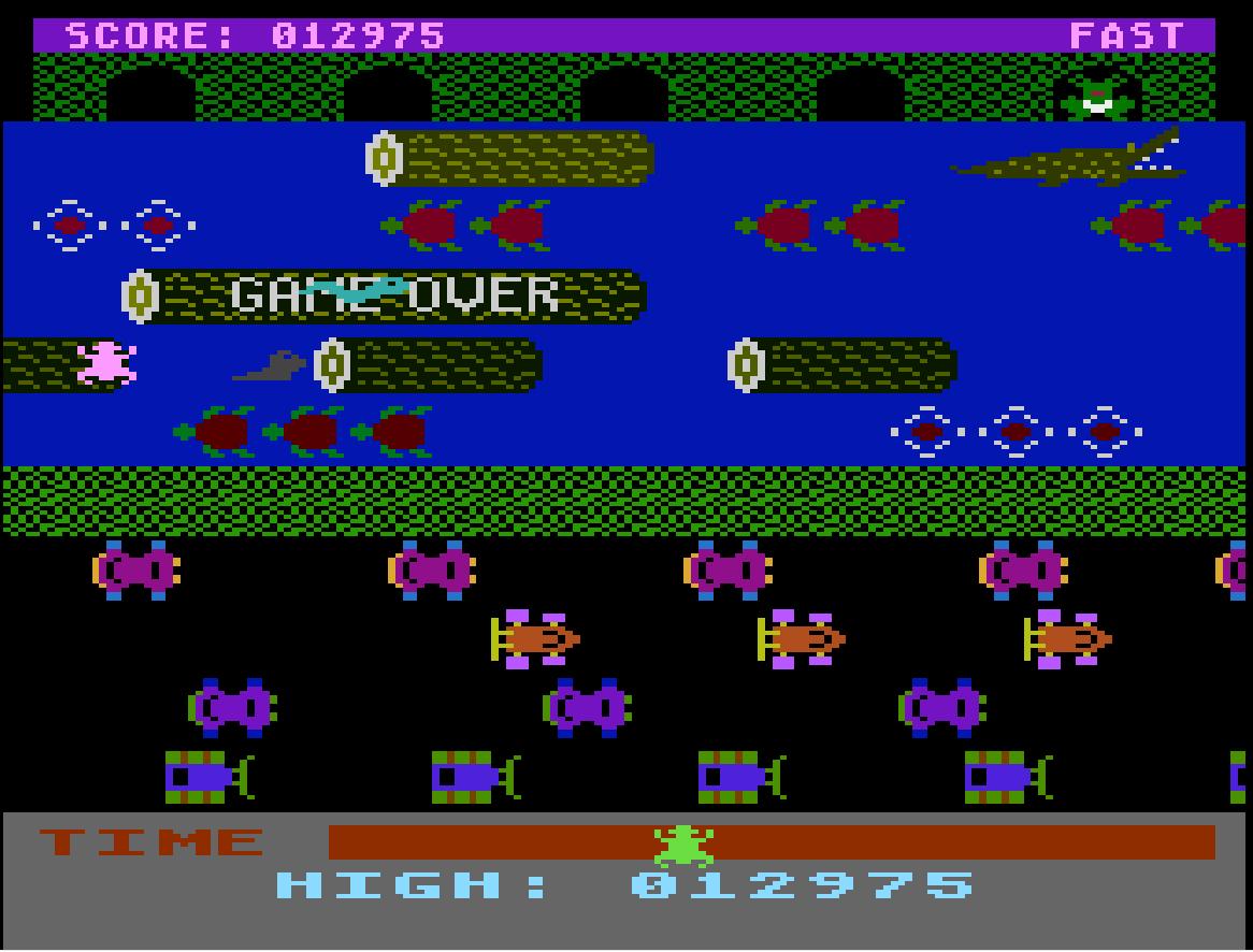 Liduario: Frogger [Parker Bros] (Atari 400/800/XL/XE Emulated) 12,975 points on 2014-08-28 17:26:13