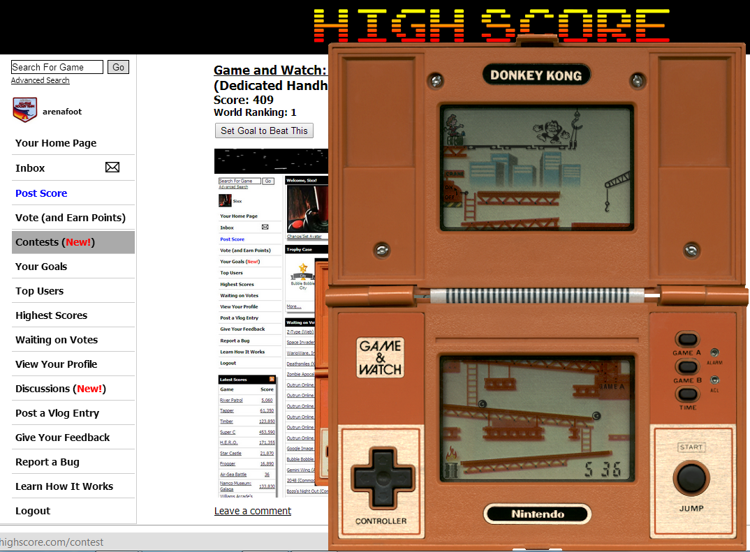 arenafoot: Game and Watch: Donkey Kong (Dedicated Handheld Emulated) 536 points on 2014-08-28 19:40:04