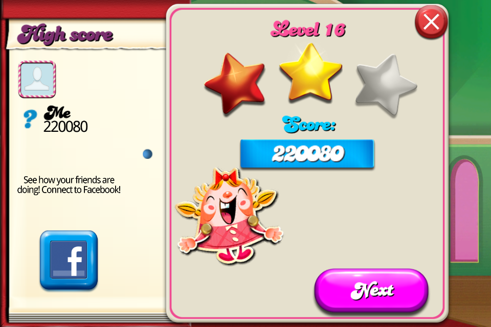 Candy Crush Saga: Level 016 220,080 points