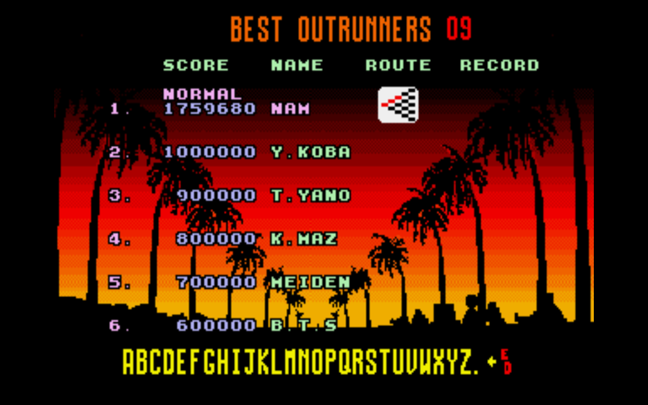 AmetDj: Outrun: Normal (Sega Genesis / MegaDrive Emulated) 1,759,680 points on 2014-08-29 15:05:37