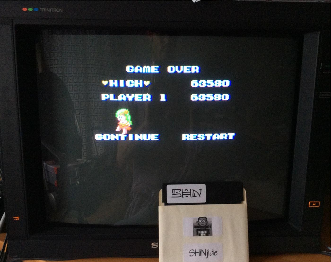SHiNjide: Wonder Boy (Sega Master System Emulated) 63,580 points on 2014-08-30 02:50:48