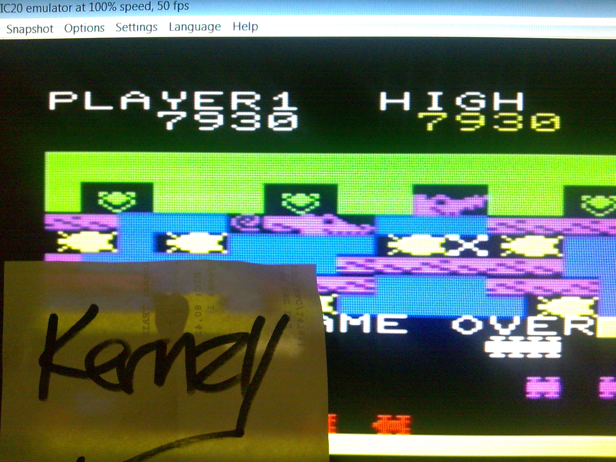 kernzy: Frogger (Commodore VIC-20 Emulated) 7,930 points on 2014-08-30 10:04:57