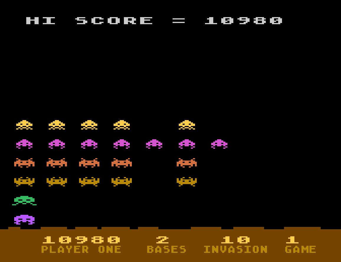 Liduario: Atari Invaders (Atari 400/800/XL/XE Emulated) 10,980 points on 2014-08-31 21:09:34