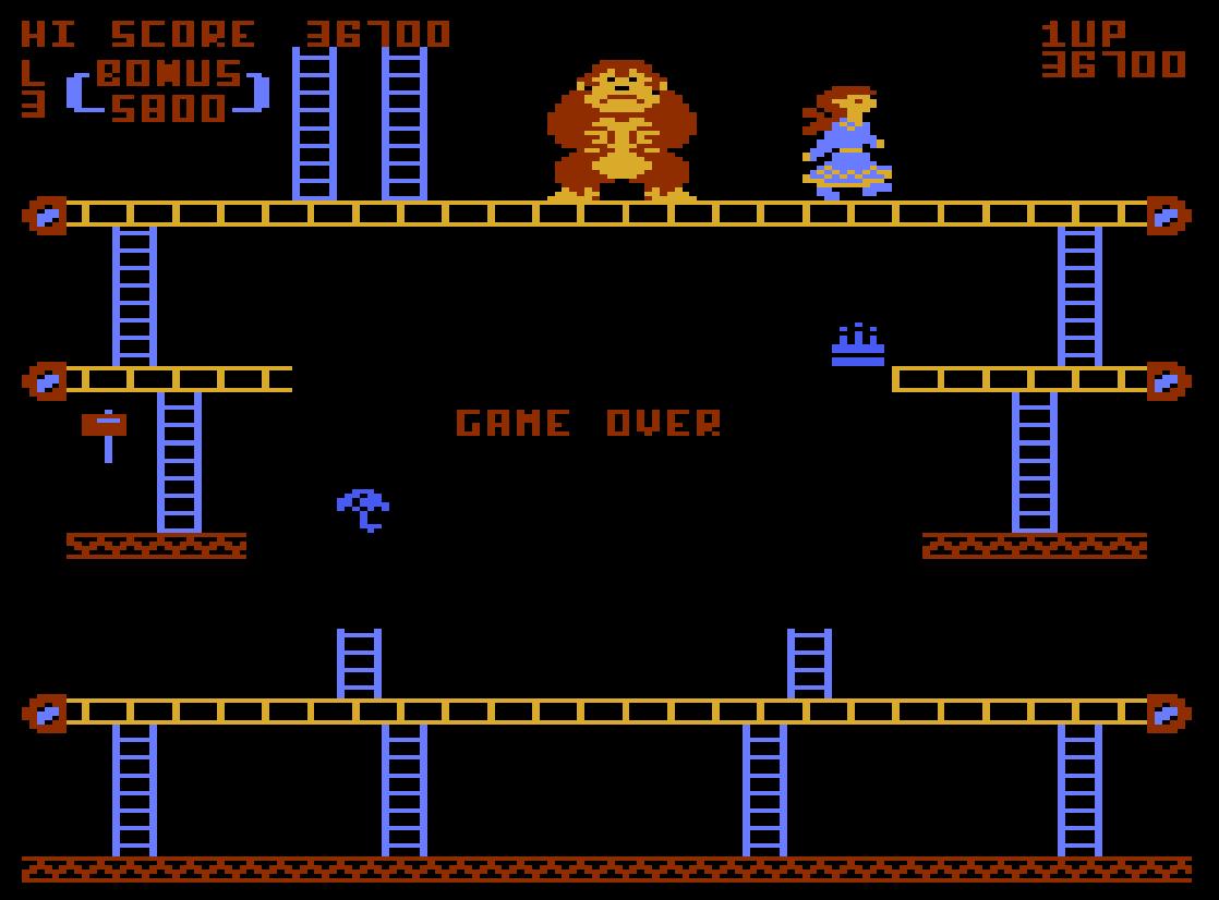 Liduario: Donkey Kong (Atari 400/800/XL/XE Emulated) 36,700 points on 2014-08-31 21:41:02