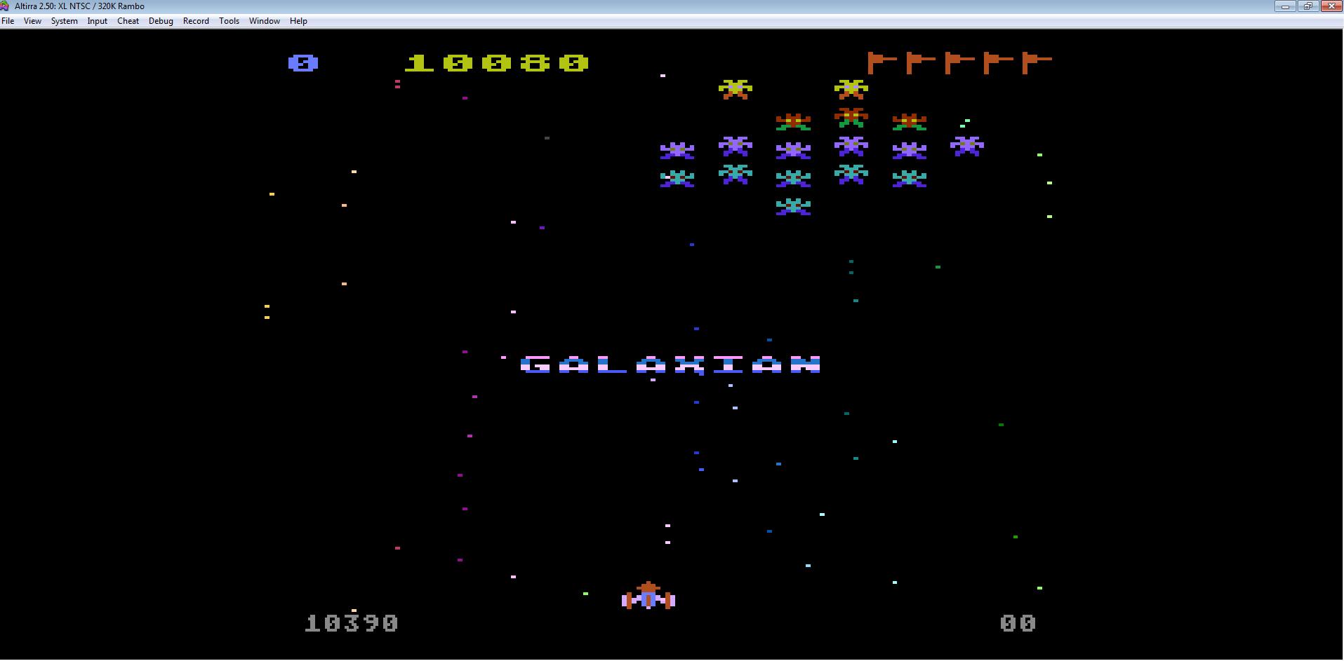 Liduario: Galaxian (Atari 400/800/XL/XE Emulated) 10,390 points on 2014-08-31 21:42:52