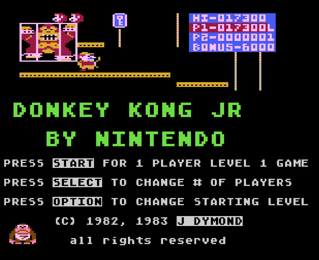 Liduario: Donkey Kong Junior (Atari 400/800/XL/XE Emulated) 17,300 points on 2014-09-02 15:29:01