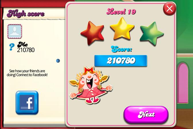 Candy Crush Saga: Level 019 210,780 points