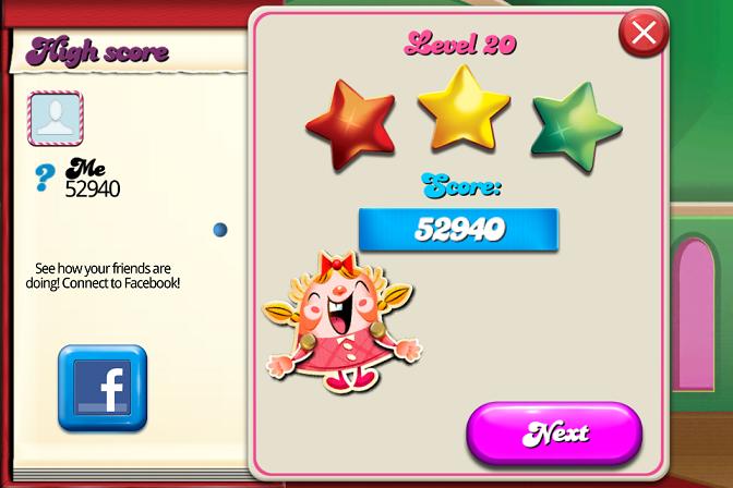 Candy Crush Saga: Level 020 52,940 points