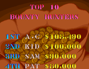 Sunset Riders 108,490 points