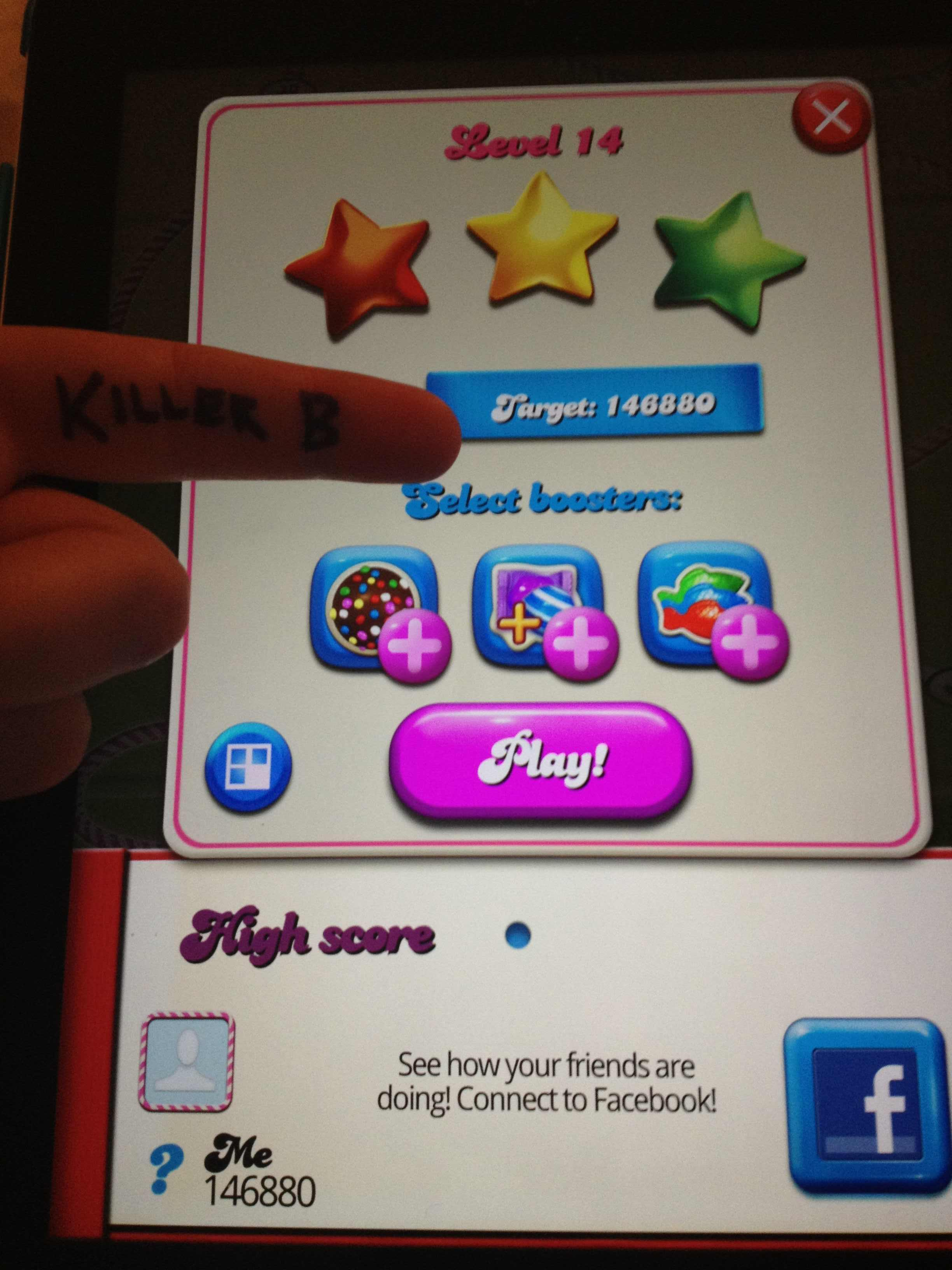 KillerB: Candy Crush Saga: Level 014 (iOS) 146,880 points on 2013-10-05 13:22:54