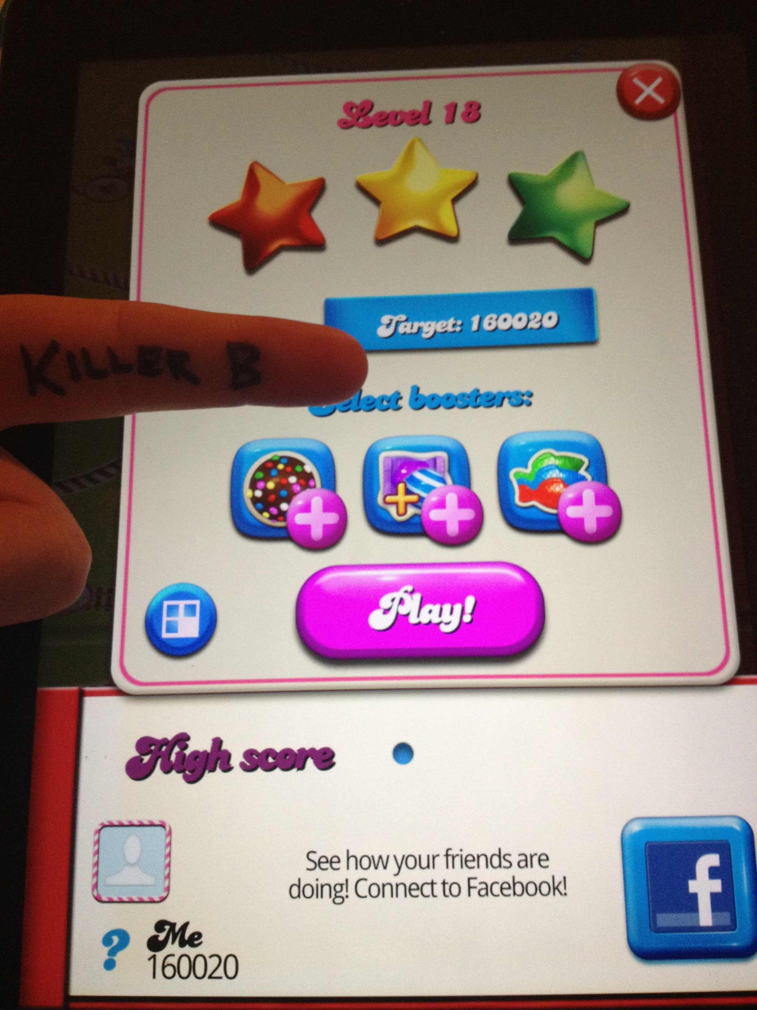 KillerB: Candy Crush Saga: Level 018 (iOS) 160,020 points on 2013-10-05 13:31:38