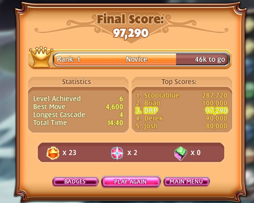 Bejeweled 3 [Classic] 97,290 points