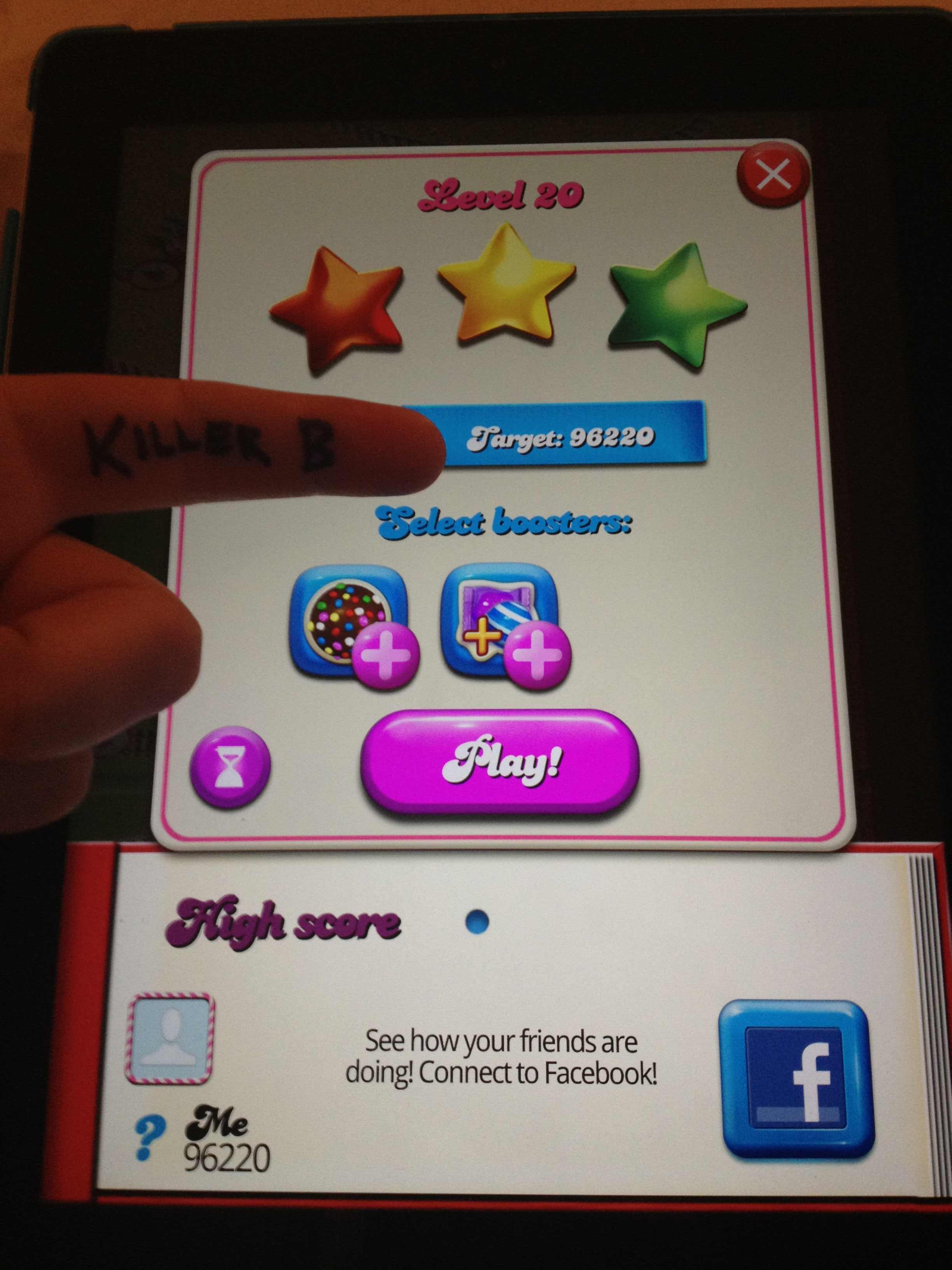 KillerB: Candy Crush Saga: Level 020 (iOS) 96,220 points on 2013-10-05 13:35:55