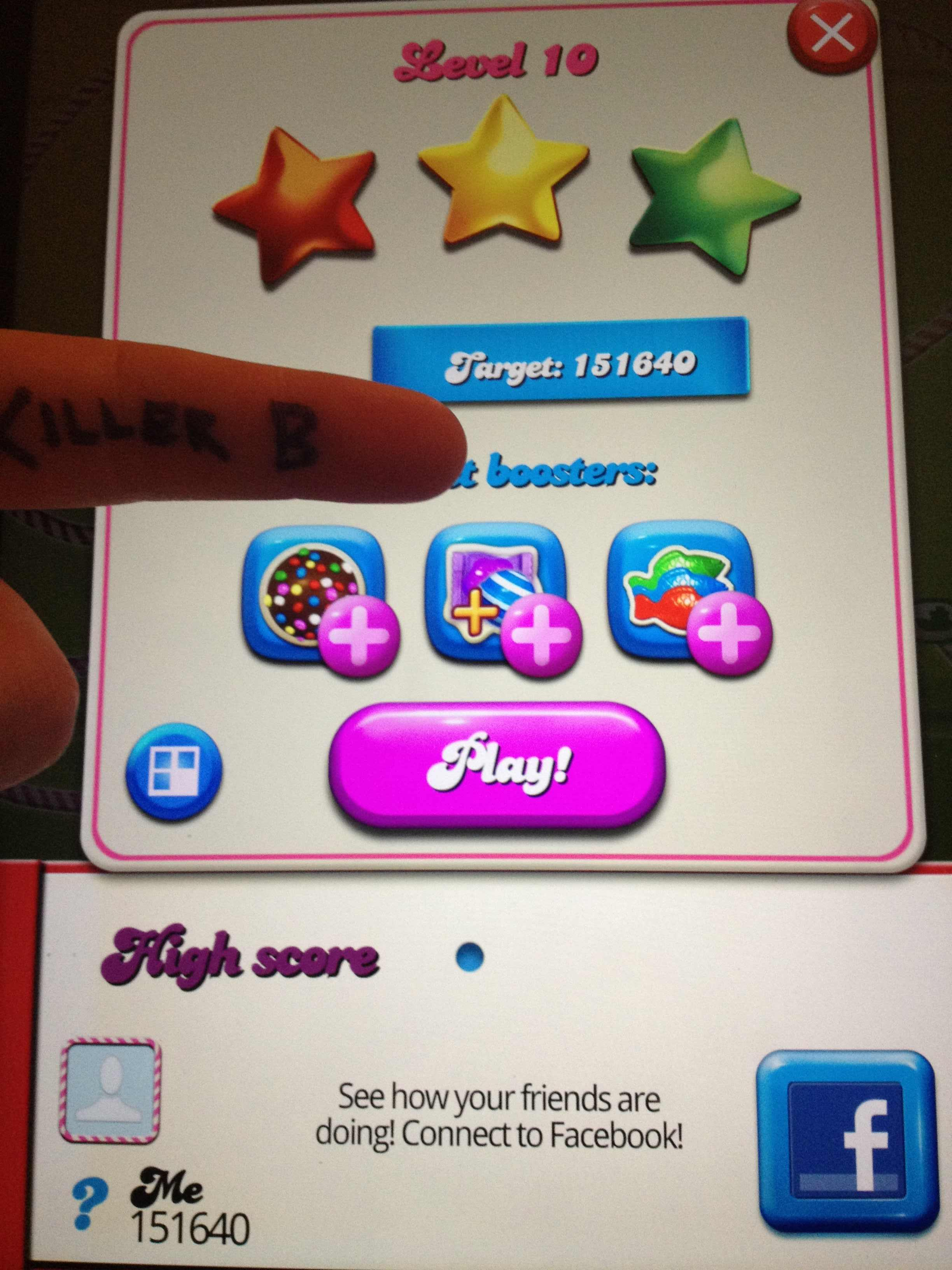 KillerB: Candy Crush Saga: Level 010 (iOS) 151,640 points on 2013-10-05 13:55:41