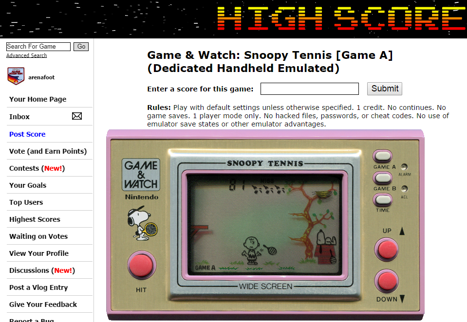 arenafoot: Game & Watch: Snoopy Tennis [Game A] (Dedicated Handheld Emulated) 81 points on 2014-09-10 21:15:31