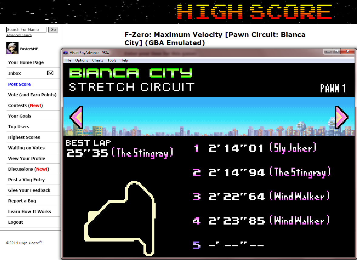 FosterAMF: F-Zero: Maximum Velocity [Pawn Circuit: Bianca City] (GBA Emulated) 0:02:14.01 points on 2014-09-12 16:31:00