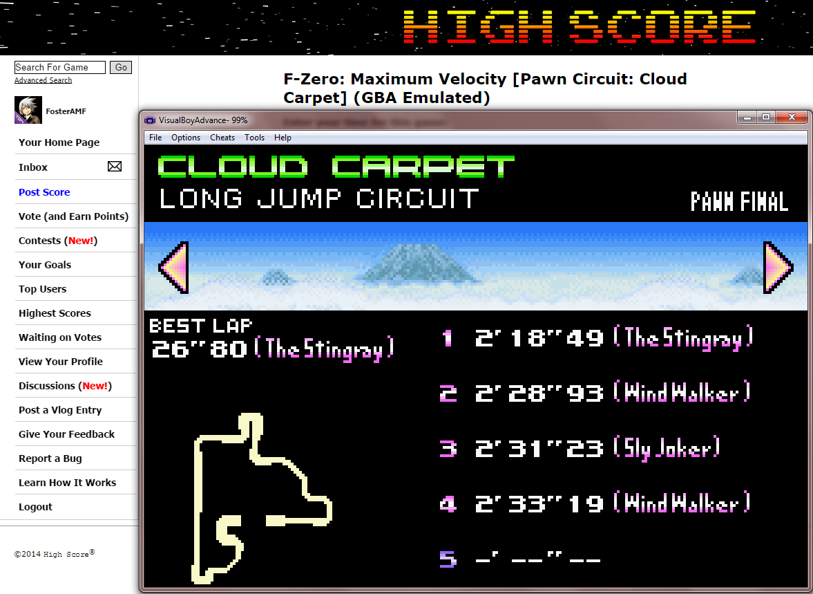 FosterAMF: F-Zero: Maximum Velocity [Pawn Circuit: Cloud Carpet] (GBA Emulated) 0:02:18.49 points on 2014-09-12 16:32:18