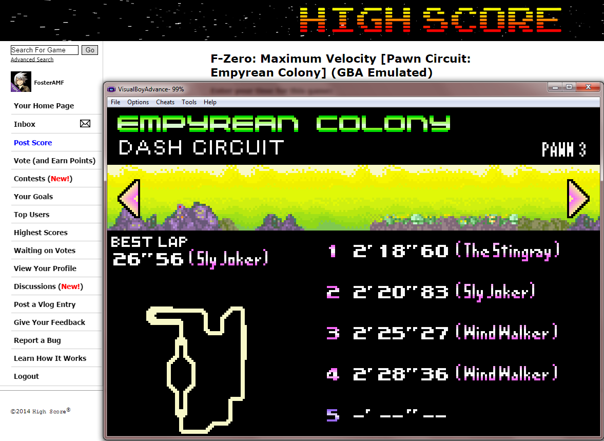 FosterAMF: F-Zero: Maximum Velocity [Pawn Circuit: Empyrean Colony] (GBA Emulated) 0:02:18.6 points on 2014-09-12 16:32:54