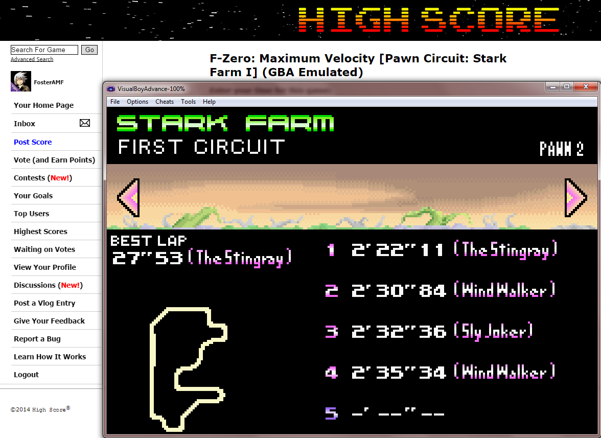 FosterAMF: F-Zero: Maximum Velocity [Pawn Circuit: Stark Farm I] (GBA Emulated) 0:02:22.11 points on 2014-09-12 16:34:30