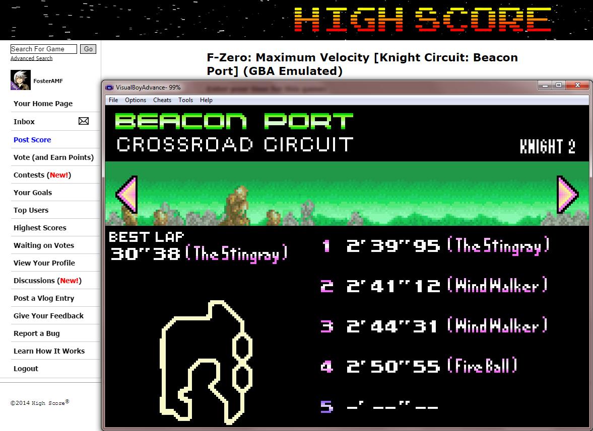 FosterAMF: F-Zero: Maximum Velocity [Knight Circuit: Beacon Port] (GBA Emulated) 0:02:39.95 points on 2014-09-16 01:56:58