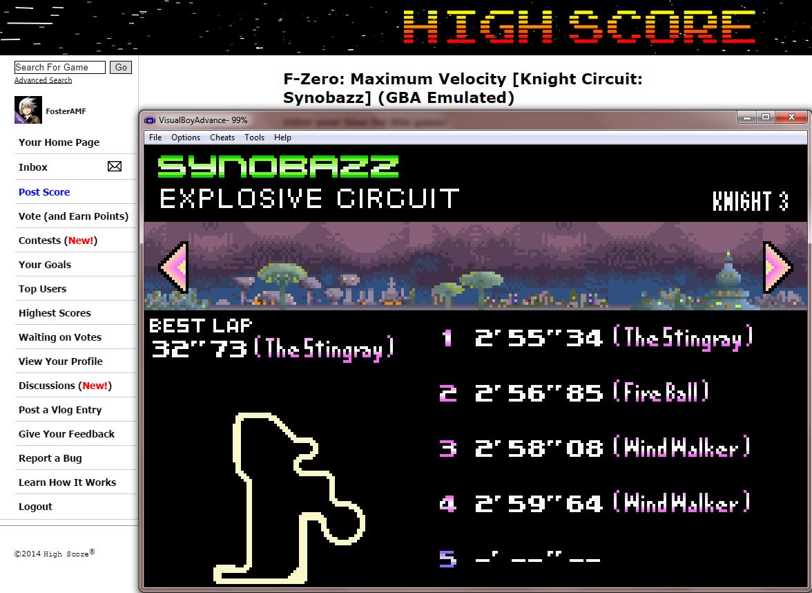 FosterAMF: F-Zero: Maximum Velocity [Knight Circuit: Synobazz] (GBA Emulated) 0:02:55.34 points on 2014-09-16 01:57:33