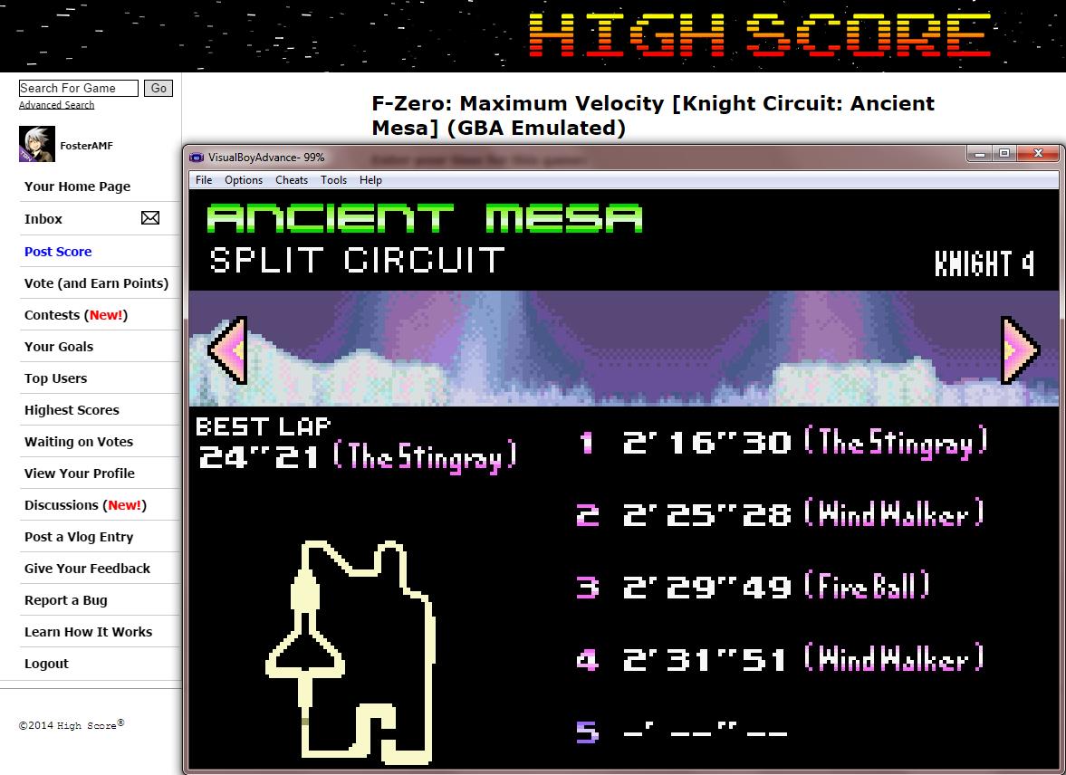 FosterAMF: F-Zero: Maximum Velocity [Knight Circuit: Ancient Mesa] (GBA Emulated) 0:02:16.3 points on 2014-09-16 01:58:10