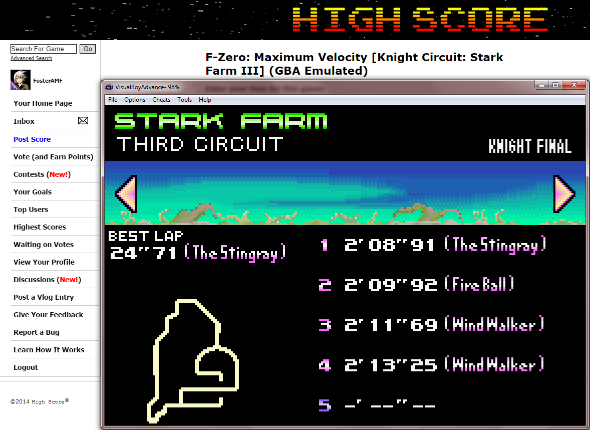 FosterAMF: F-Zero: Maximum Velocity [Knight Circuit: Stark Farm III] (GBA Emulated) 0:02:08.91 points on 2014-09-16 01:58:48