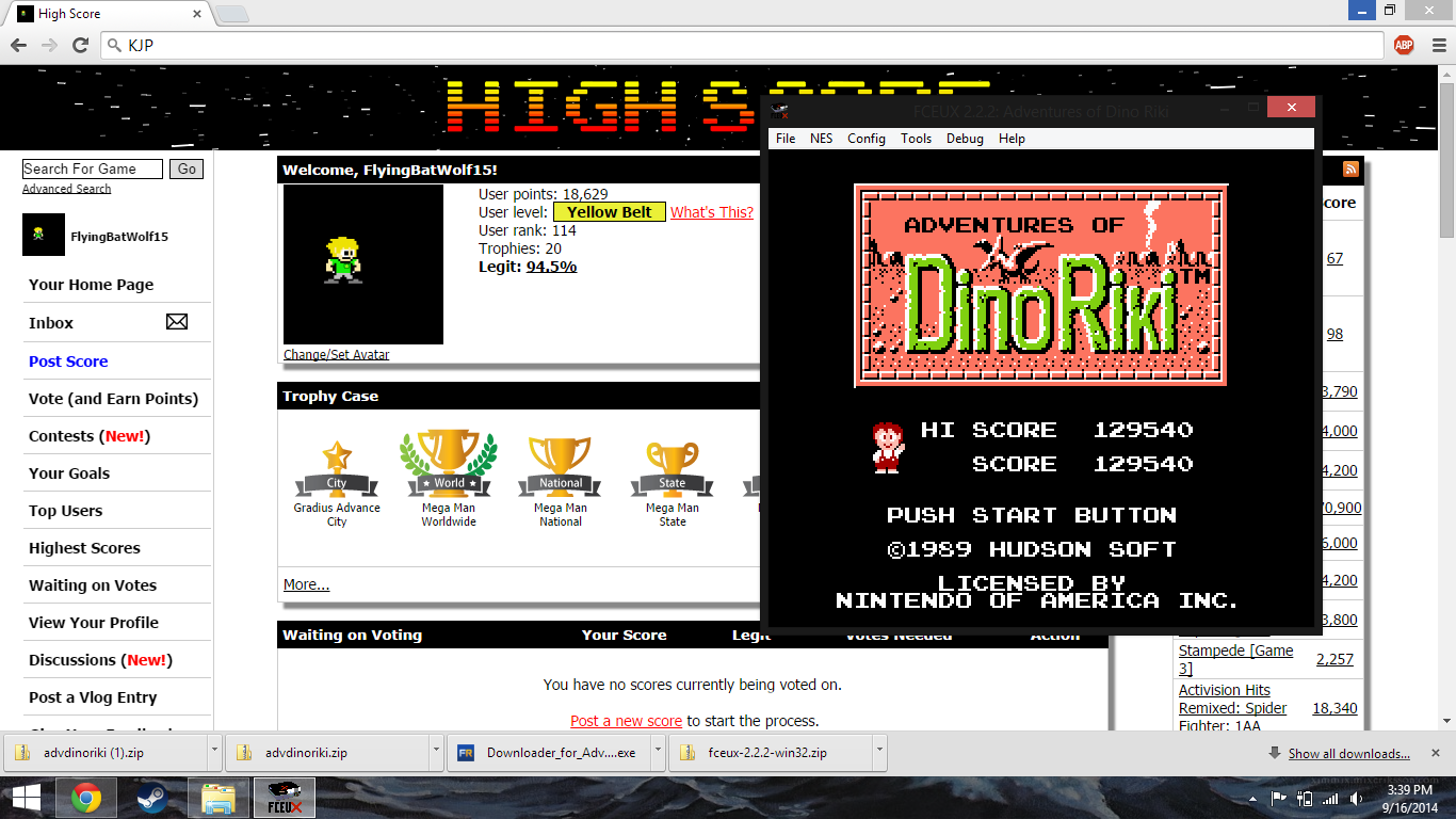 FlyingBatWolf15: Adventures of DinoRiki (NES/Famicom Emulated) 129,450 points on 2014-09-16 17:44:00