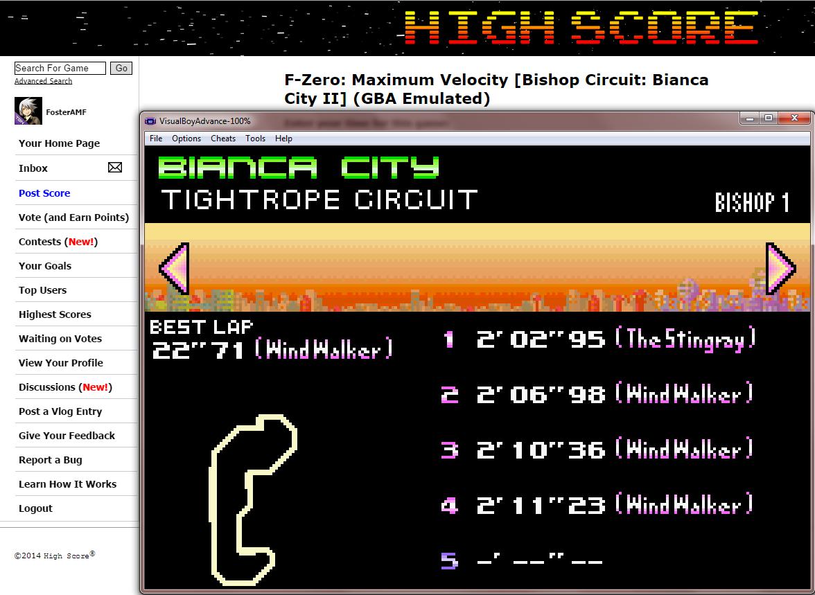 FosterAMF: F-Zero: Maximum Velocity [Bishop Circuit: Bianca City II] (GBA Emulated) 0:02:02.95 points on 2014-09-17 13:46:43