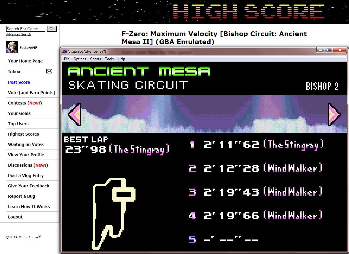 FosterAMF: F-Zero: Maximum Velocity [Bishop Circuit: Ancient Mesa II] (GBA Emulated) 0:02:11.62 points on 2014-09-17 13:47:34