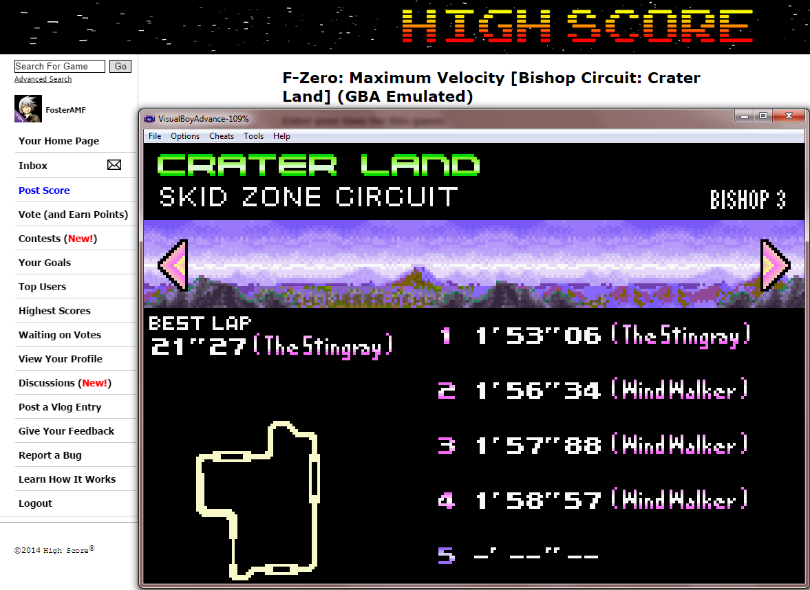 FosterAMF: F-Zero: Maximum Velocity [Bishop Circuit: Crater Land] (GBA Emulated) 0:01:53.06 points on 2014-09-17 13:48:58