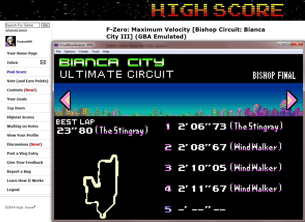 FosterAMF: F-Zero: Maximum Velocity [Bishop Circuit: Bianca City III] (GBA Emulated) 0:02:06.73 points on 2014-09-17 13:50:27