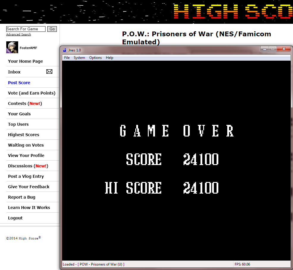 FosterAMF: P.O.W.: Prisoners of War (NES/Famicom Emulated) 24,100 points on 2014-09-18 00:43:41