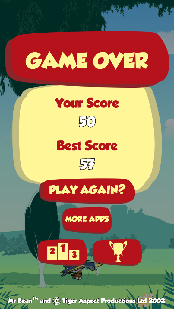 Congslop: Mr. Bean Flying Teddy (iOS) 57 points on 2014-09-18 02:33:04