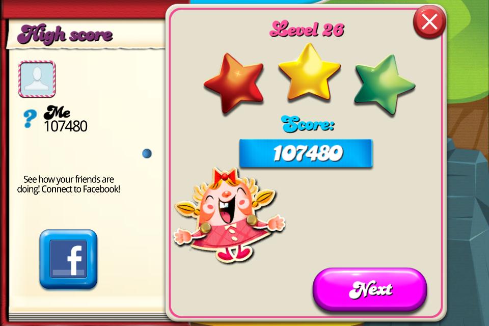 Candy Crush Saga: Level 026 107,480 points