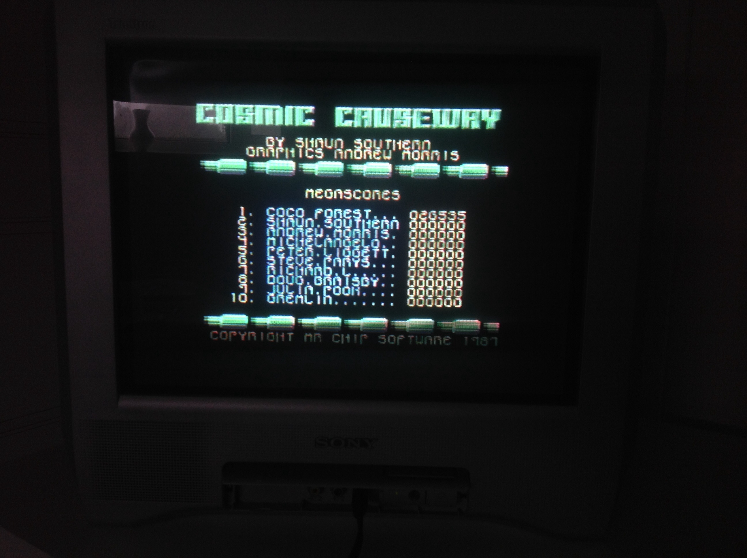 CoCoForest: Cosmic Causeway (Commodore 64) 26,535 points on 2014-09-18 03:08:31