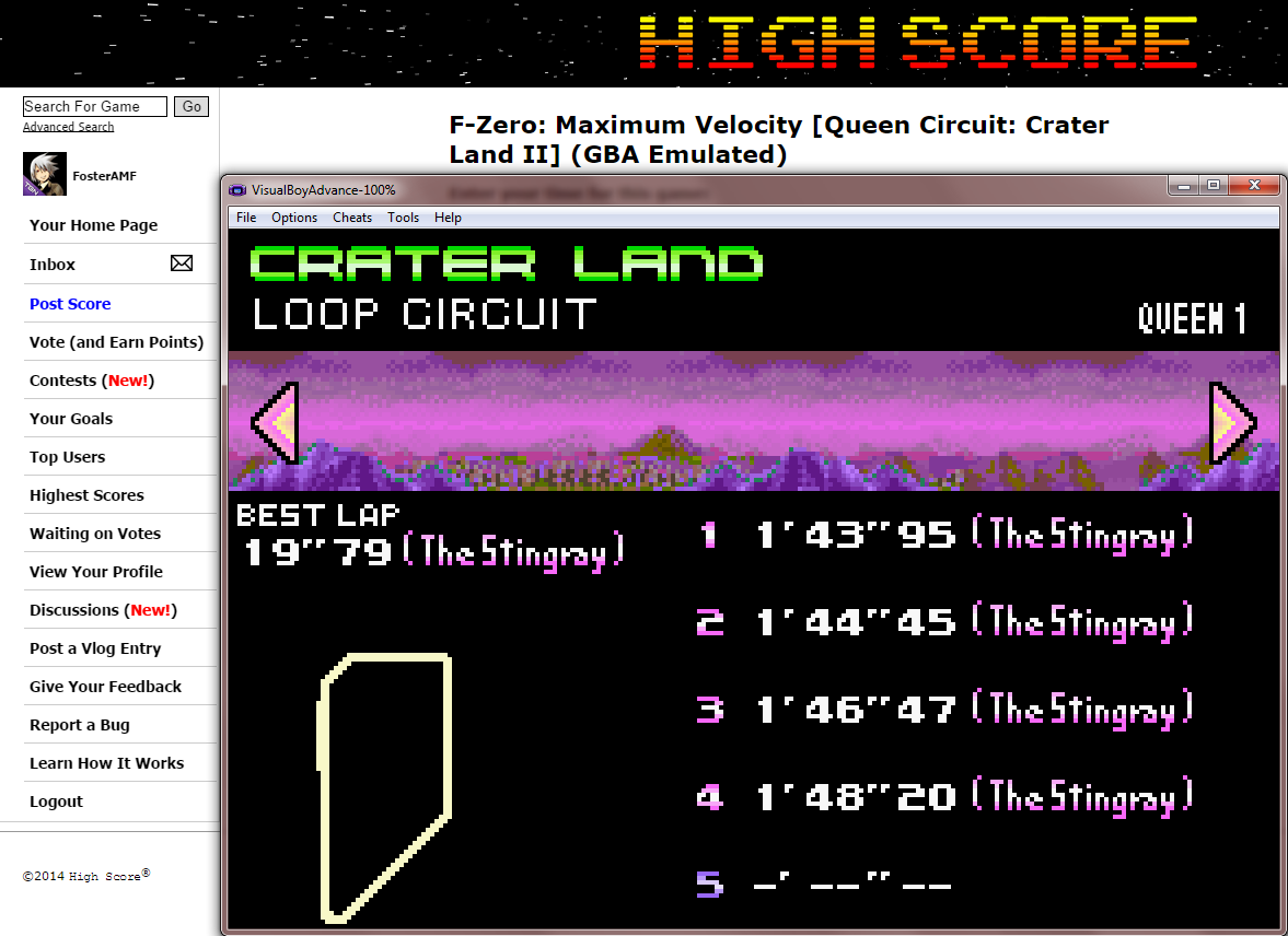 FosterAMF: F-Zero: Maximum Velocity [Queen Circuit: Crater Land II] (GBA Emulated) 0:01:43.95 points on 2014-09-18 13:43:18