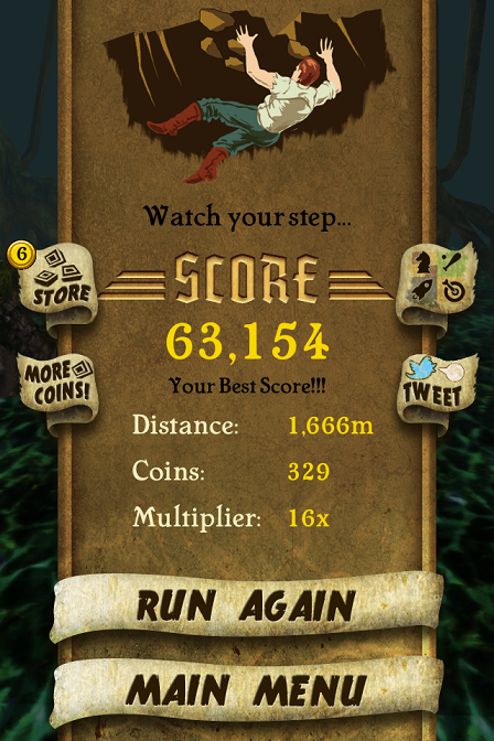 Temple Run 63,154 points