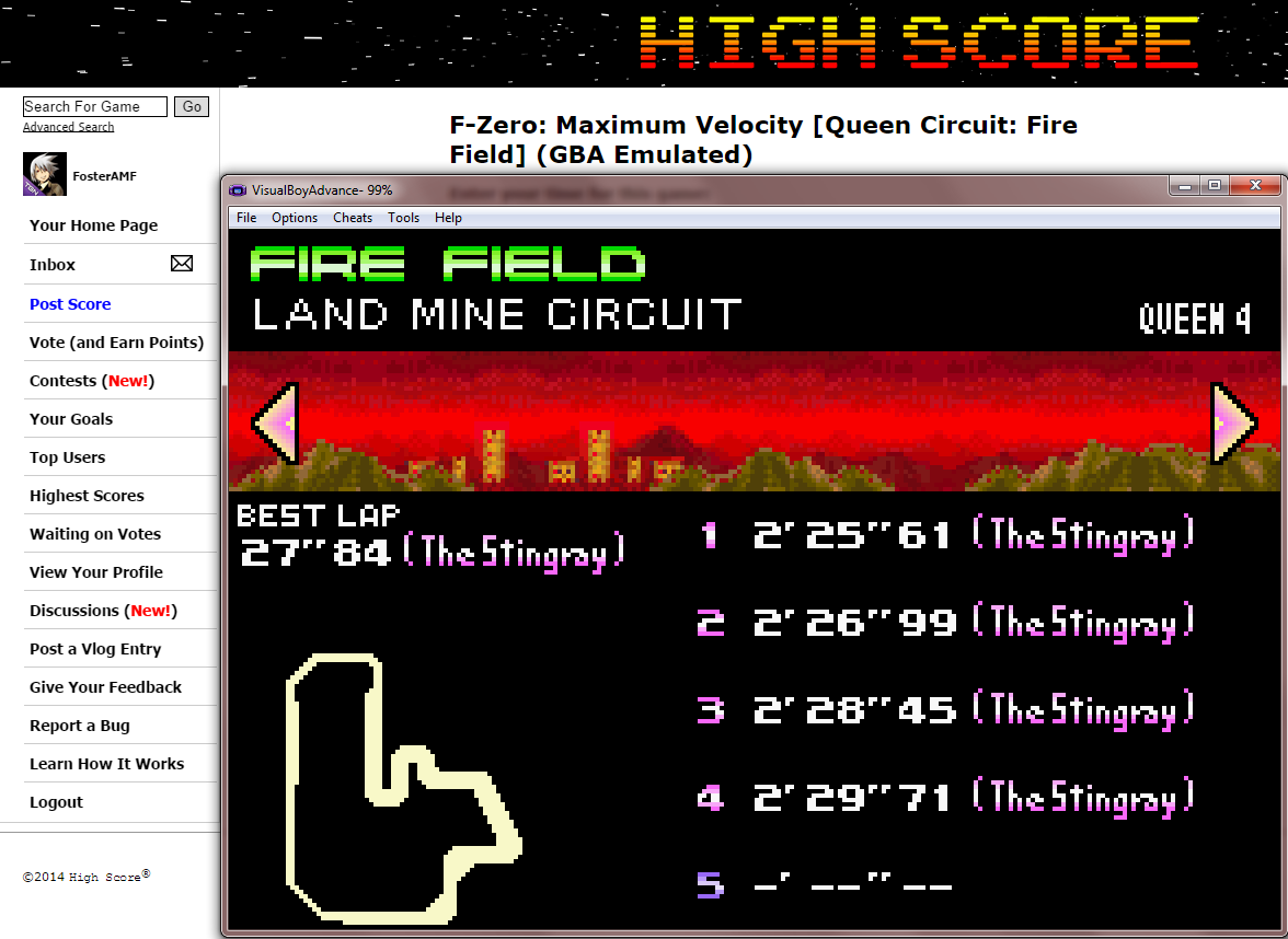 FosterAMF: F-Zero: Maximum Velocity [Queen Circuit: Fire Field] (GBA Emulated) 0:02:25.61 points on 2014-09-18 13:46:02