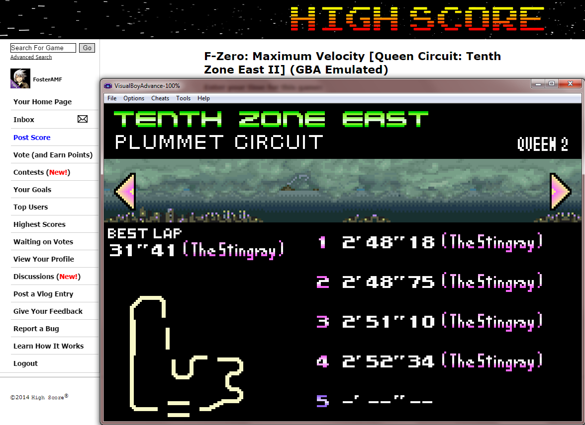 FosterAMF: F-Zero: Maximum Velocity [Queen Circuit: Tenth Zone East II] (GBA Emulated) 0:02:48.18 points on 2014-09-18 13:46:37