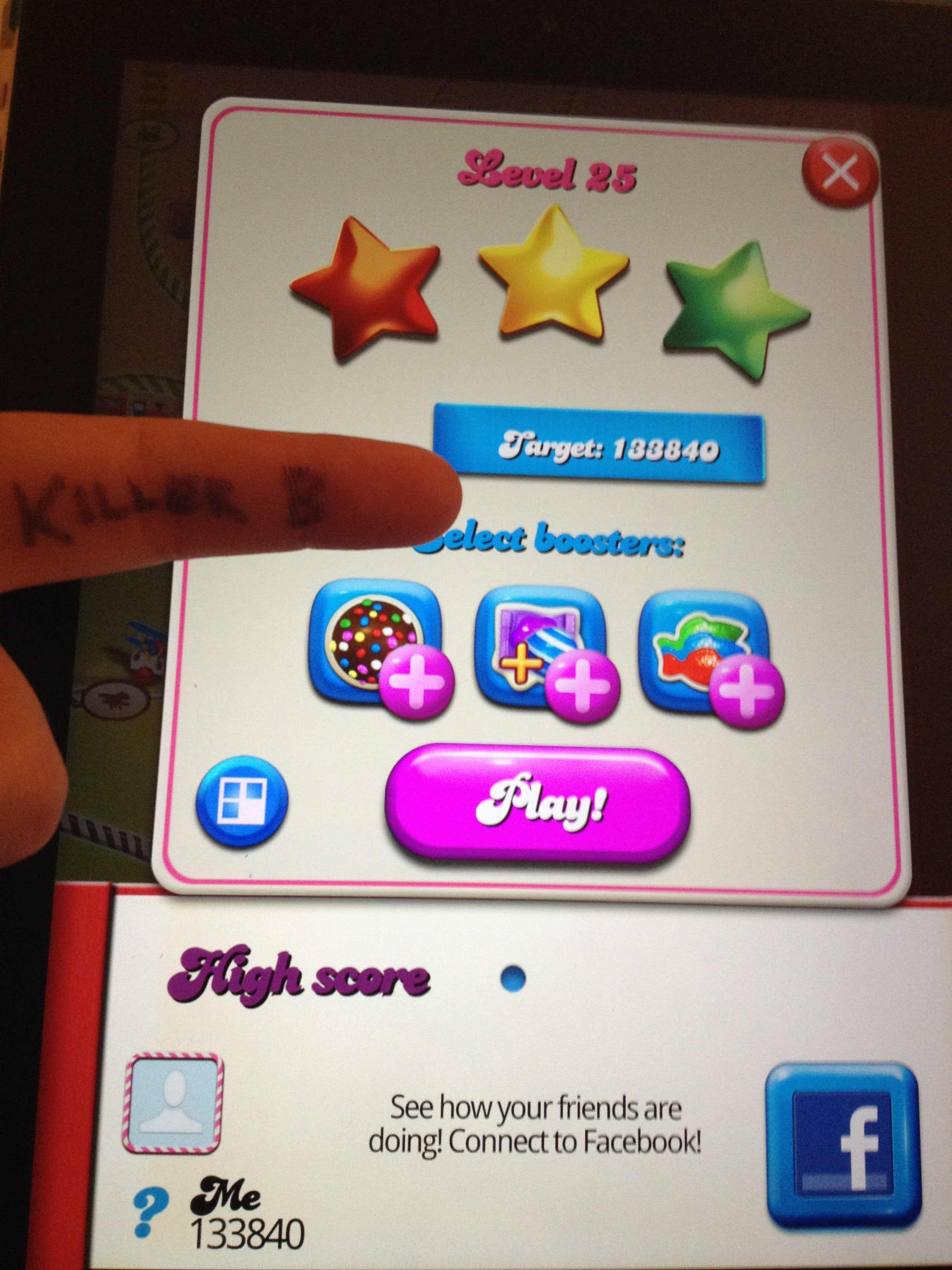 KillerB: Candy Crush Saga: Level 025 (iOS) 133,840 points on 2013-10-06 23:09:53