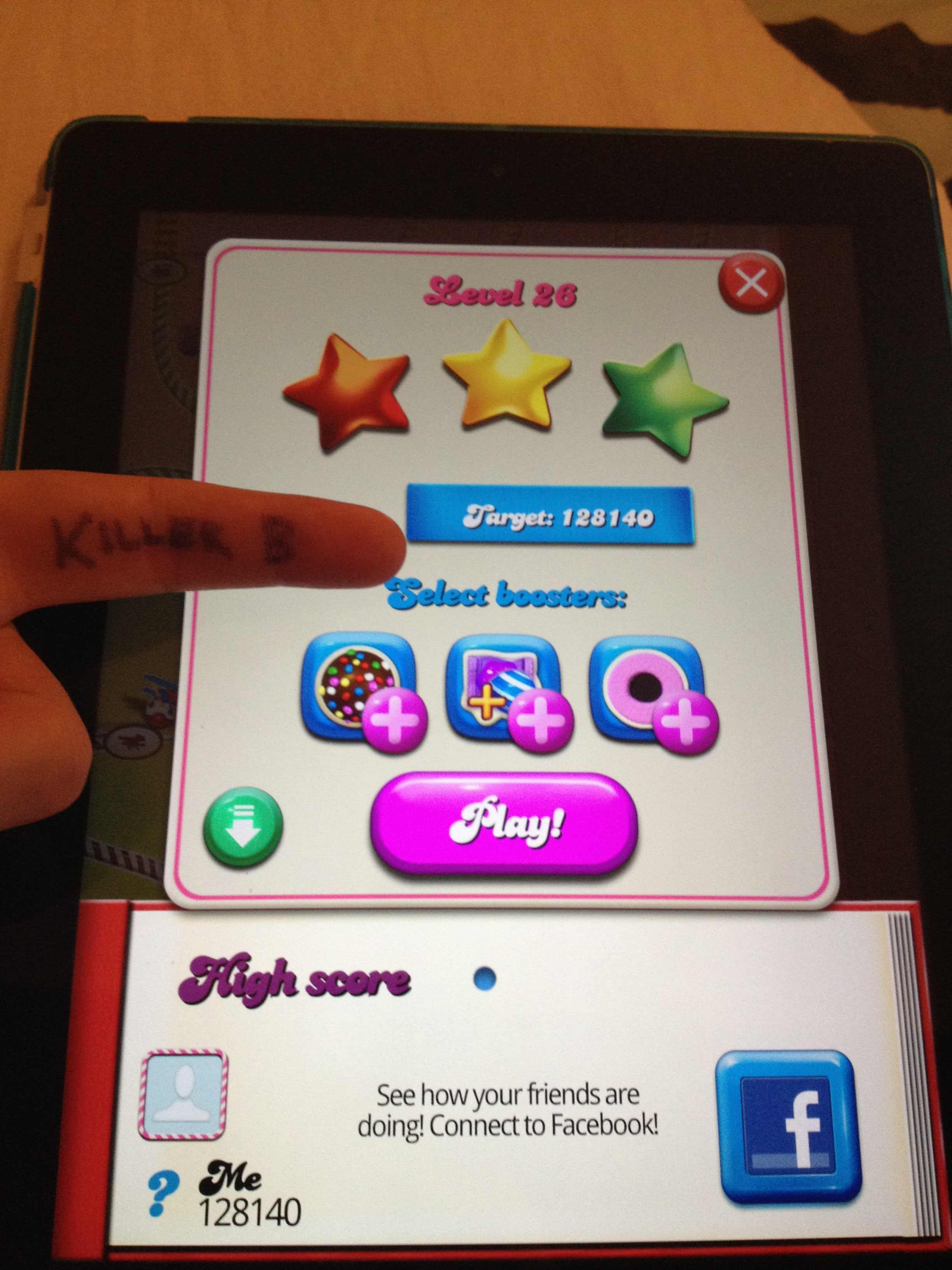 KillerB: Candy Crush Saga: Level 026 (iOS) 128,140 points on 2013-10-06 23:10:58