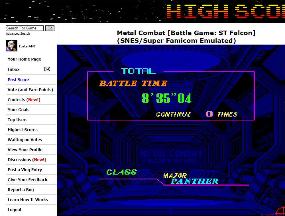 FosterAMF: Metal Combat [Battle Game: ST Falcon] (SNES/Super Famicom Emulated) 0:08:35.04 points on 2014-09-24 03:46:04
