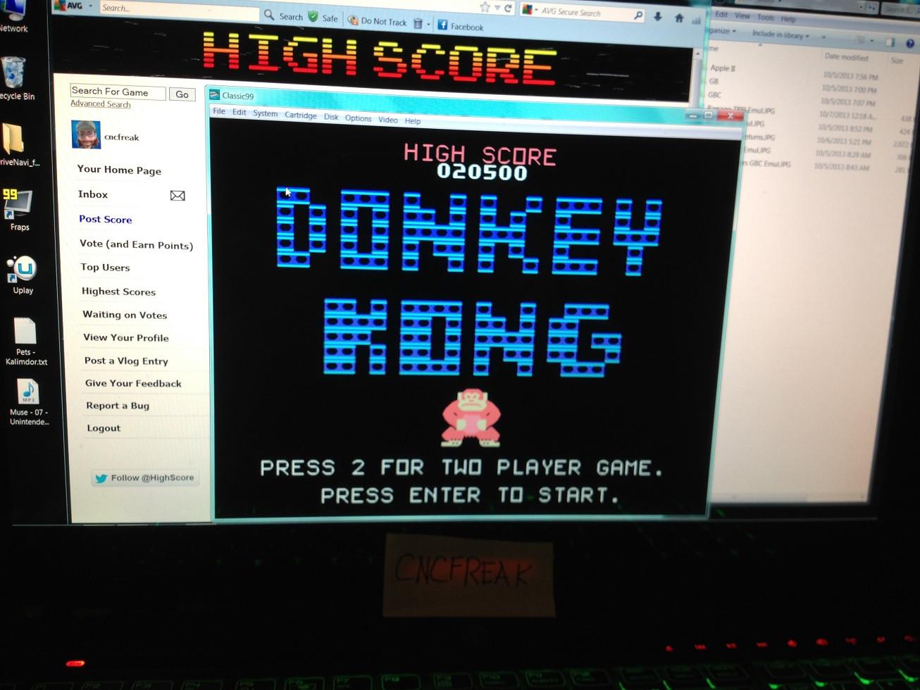 Donkey Kong 20,500 points